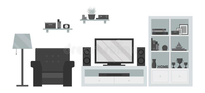 Modern vardagsrum med TVzon och möblemang stock illustrationer