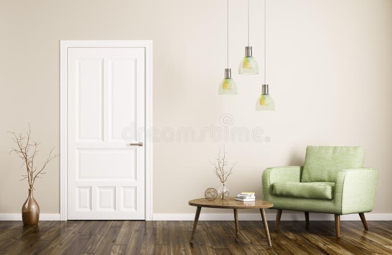 Modern vardagsruminre med den dörr- och för fåtölj 3d tolkningen vektor illustrationer