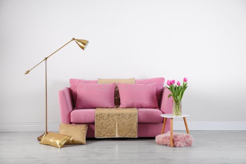 Modern vardagsruminre med den stilfulla rosa soffan arkivbilder