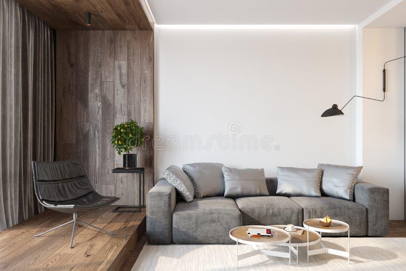 Modern vardagsruminre med den tomma väggen, soffan, vardagsrumstol, tabellen, träväggen och golvet arkivfoton