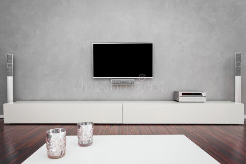 Modernt vardagsrum med TV:N vektor illustrationer