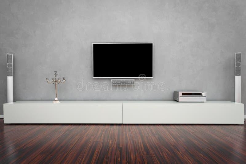 Modernt vardagsrum med TV:N arkivfoton