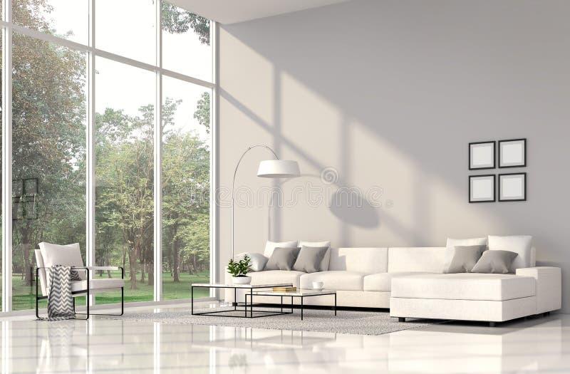 Modern vardagsruminre med väggen 3d för ans för vit soffa den gråa att framföra vektor illustrationer
