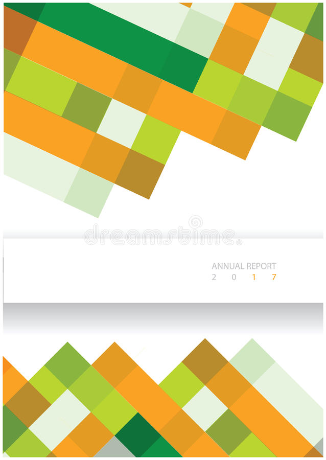 Modern vector annual report cover design. With bright lines and squares and frame for text vector illustration