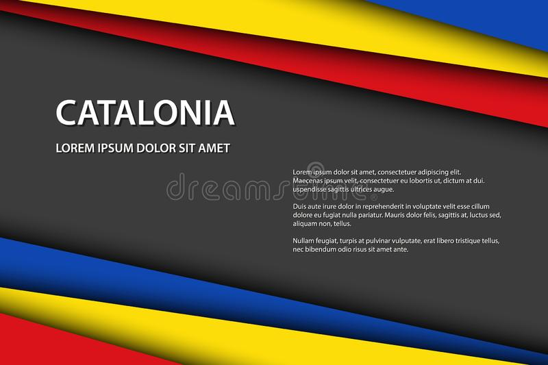 Modern vector background with Catalan colors and grey free space for your text, overlayed sheets of paper. In the look of the Catalan flag, Made in Catalonia stock illustration