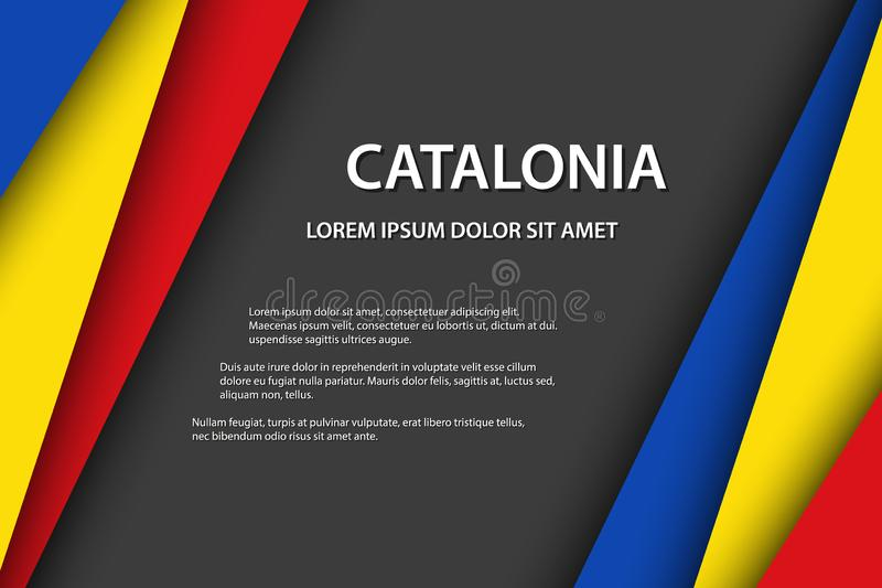 Modern vector background, overlayed sheets of paper in the look of the Catalan flag, Made in Catalonia, Catalan colors. And grey free space for your text vector illustration
