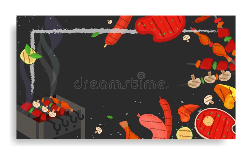 Barbecue party, menu, invitation design. BBQ. Modern vector barbecue party, menu, invitation design rectangle template. Trendy BBQ cookout poster, web banner royalty free illustration