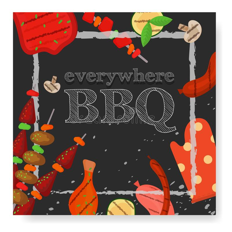 Barbecue party, menu, invitation design. BBQ. Modern vector barbecue party, menu, invitation design square template. Trendy BBQ cookout poster, web banner, cover royalty free illustration