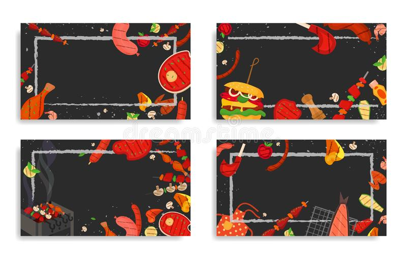 Barbecue party, menu, invitation design. BBQ. Modern vector barbecue party, menu, invitation design template set. Trendy BBQ cookout poster, web banner, cover stock illustration