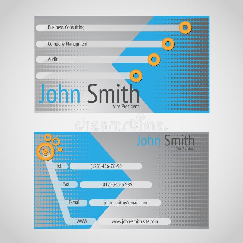 Modern vector business card standart 90 x 50 mm royalty free illustration