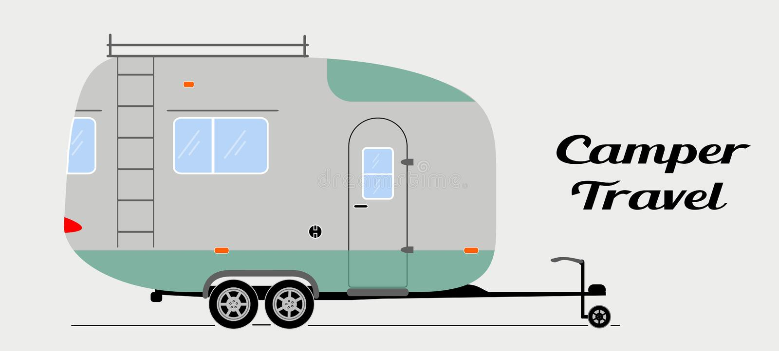 Modern vector camper trailer in flat style. Van illustration for travel leisure and adventure. royalty free illustration