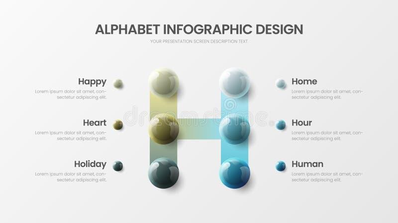 Modern vector de presentatiemalplaatje van 6 het symbool infographic 3D realistisch kleurrijk ballen van het optiealfabet H vector illustratie