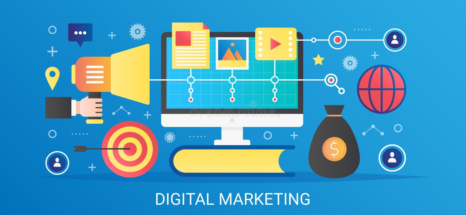 Modern vector flat gradient Digital marketing concept template banner with icons and text. royalty free illustration