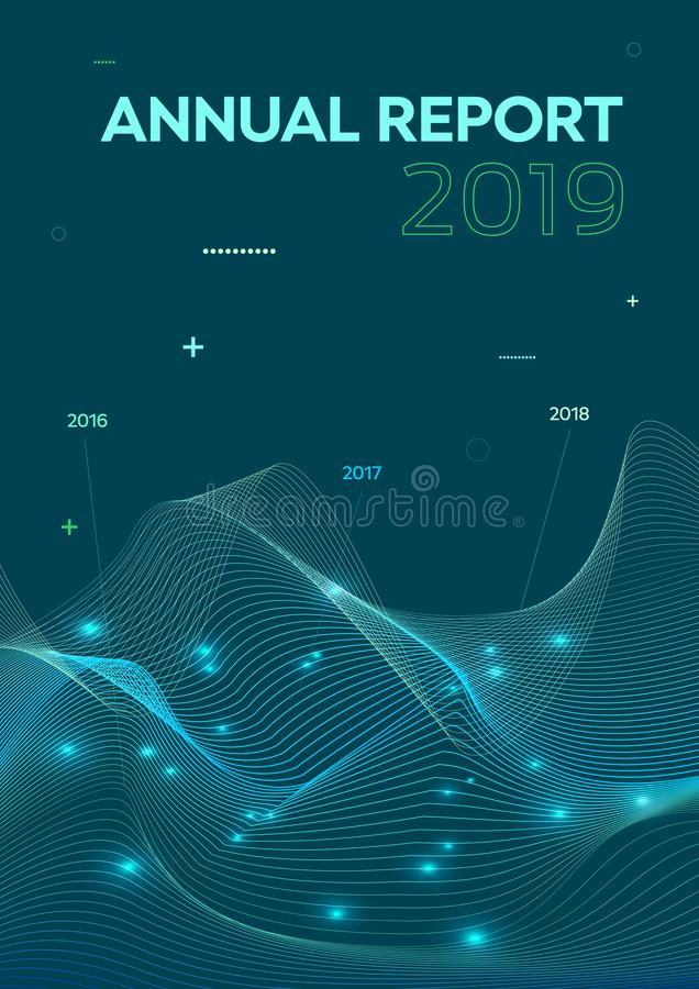 Modern vector flyer, annual report, brochure cover, background with statistics wave in blue color.  royalty free stock photos