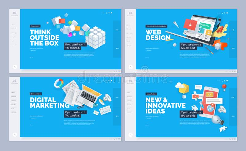 Set of website template designs stock illustration