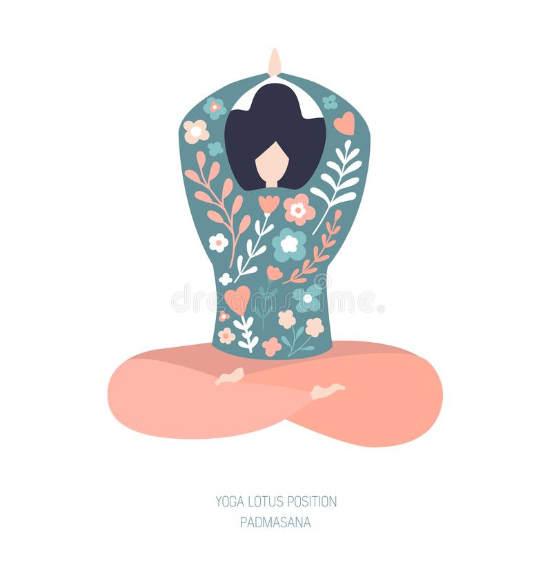Yoga and meditation concept with doodle flowers royalty free illustration