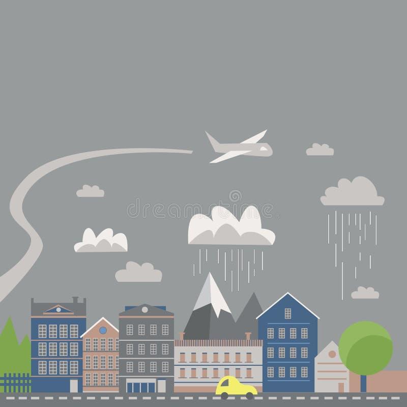 Modern vector illustration of urban landscape. Flat city. Set of buildings. Creative background. Panorama stock illustration
