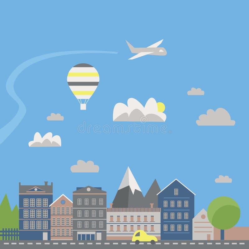 Modern vector illustration of urban landscape. Flat city. Set of buildings. Creative background. Panorama royalty free illustration