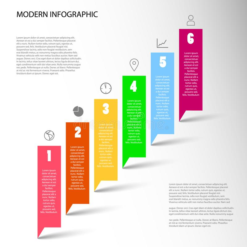 Modern Vector Infographic with six color steps stock illustration