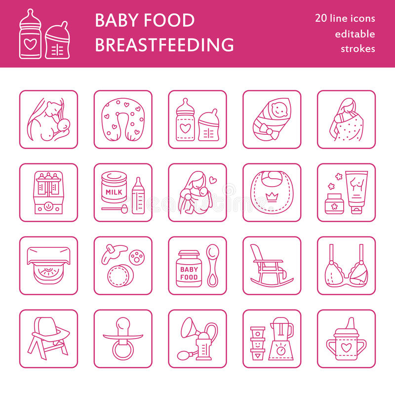 Modern vector line icon of breast feeding, baby infant food. Nursery elements - breast pump, woman, child, powdered milk, bottle stock illustration