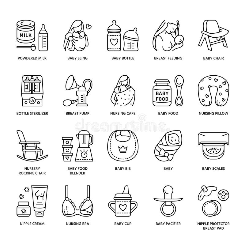 Modern vector line icon of breastfeeding, baby infant food. Breast feeding elements - pump, woman, child, powdered milk, bottle st royalty free illustration