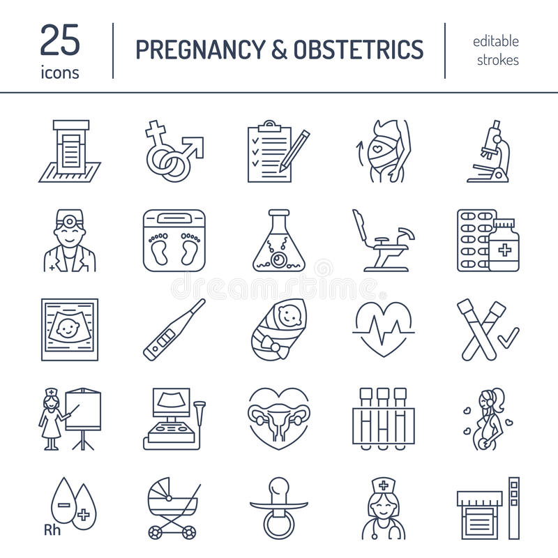 Modern vector line icon of pregnancy management stock illustration