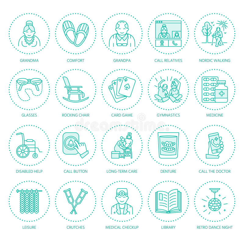 Modern vector line icon of senior and elderly care. Nursing home elements - old people, wheelchair, leisure, hospital royalty free illustration