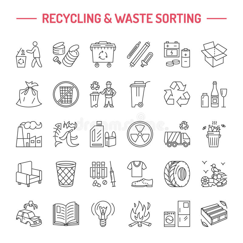 Modern vector line icon of waste sorting, recycling. Garbage collection. Recyclable waste - paper, glass, plastic, metal. Linear royalty free illustration