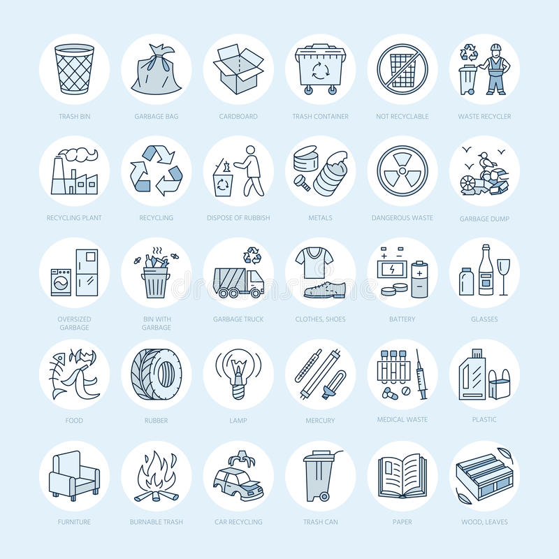 Modern vector line icon of waste sorting, recycling. Garbage collection. Recyclable waste - paper, glass, plastic, metal. Linear. Pictogram with editable stroke vector illustration