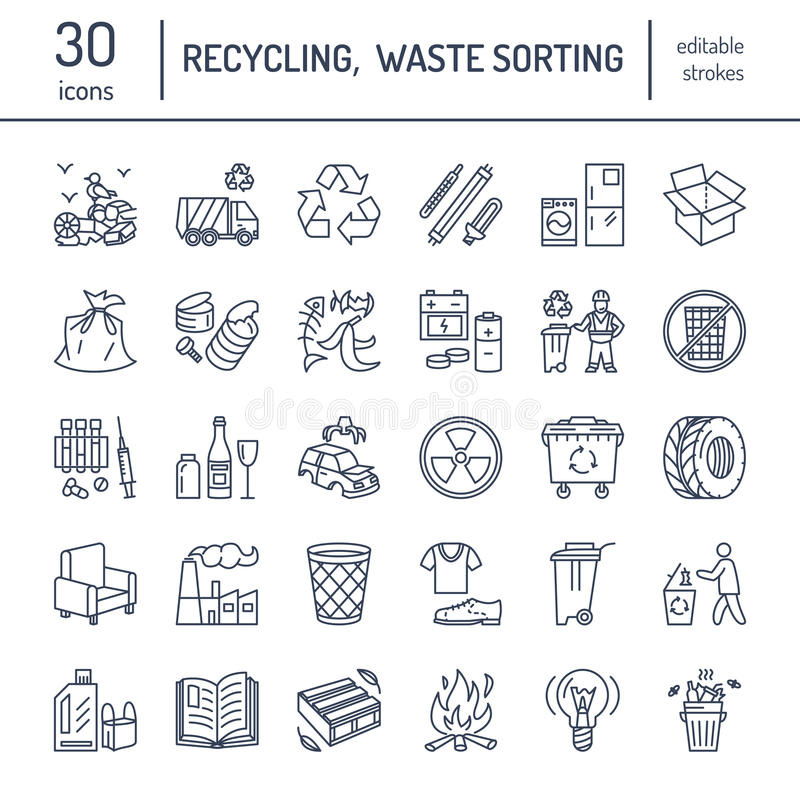 Modern vector line icon of waste sorting, recycling. Garbage collection. Recyclable waste - paper, glass, plastic, metal. Linear vector illustration