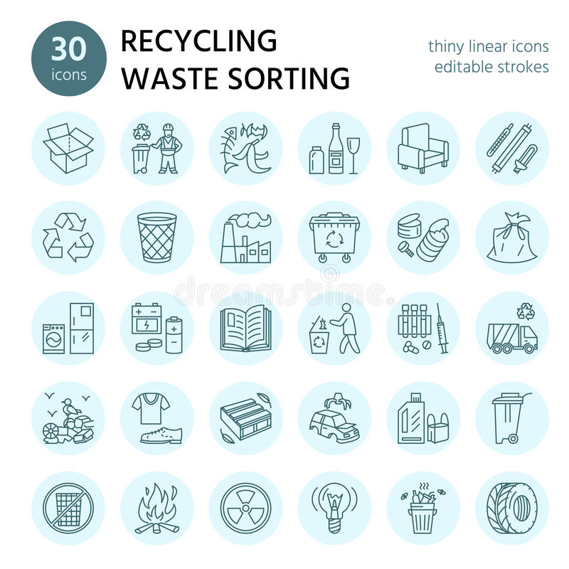 Modern vector line icon of waste sorting, recycling. Garbage collection. Recyclable waste - paper, glass, plastic, metal royalty free illustration