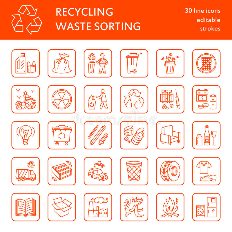Modern vector line icon of waste sorting, recycling. Garbage collection. Waste types - paper, glass, plastic, metal. Linear stock illustration