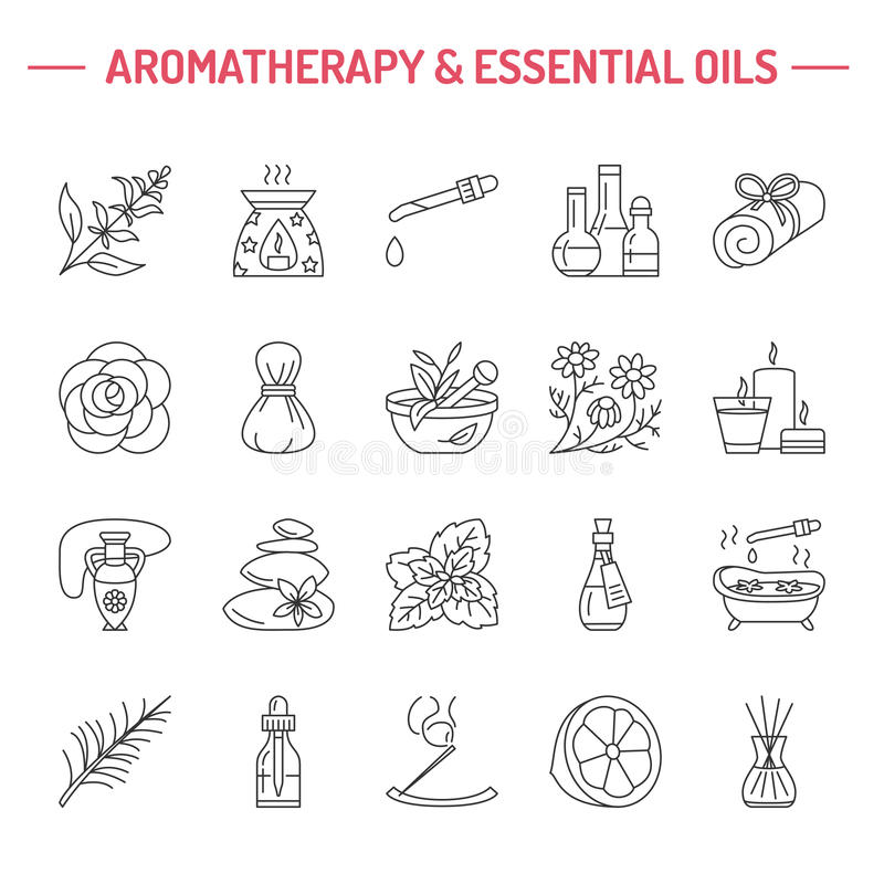 Modern vector line icons of aromatherapy and essential oils. stock illustration