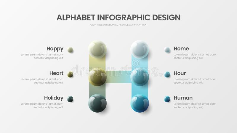 Modern vector 6 option alphabet H symbol infographic 3D realistic colorful balls presentation template. Amazing vector 6 option alphabet infographic 3D vector illustration