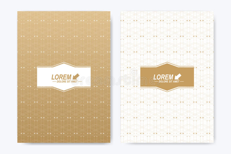 Modern vector template for brochure Leaflet flyer advert cover magazine or annual report. A4 size. Business, science. Medical design book layout. Golden vector illustration