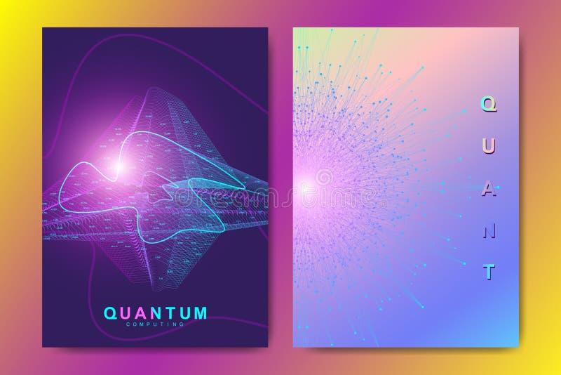 Modern vector template for brochure, leaflet, flyer, cover, banner, catalog, magazine, annual report 量子技术 向量例证