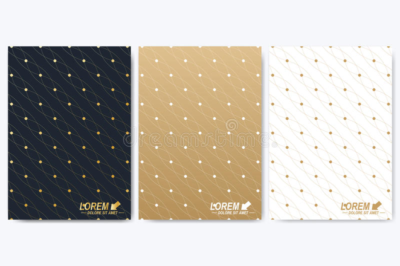 Modern vector template for brochure, Leaflet, flyer, cover, booklet, magazine or annual report. Golden presentation book. Layout. Geometric pattern with stock illustration