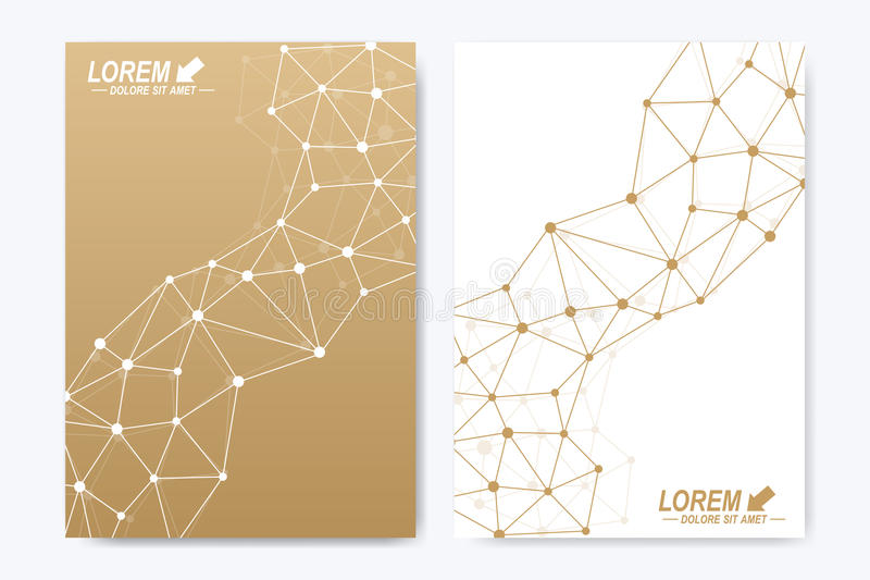 Modern vector template for brochure, Leaflet, flyer, cover, booklet, magazine or annual report. Golden presentation book. Layout. Geometric pattern with vector illustration