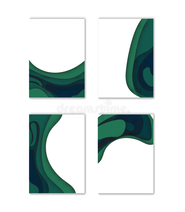 Modern vector template for brochure, leaflet, flyer, cover, catalog in A4 size. Abstract fluid 3d shapes vector trendy liquid colo. Rs backgrounds set.Eps10 royalty free illustration
