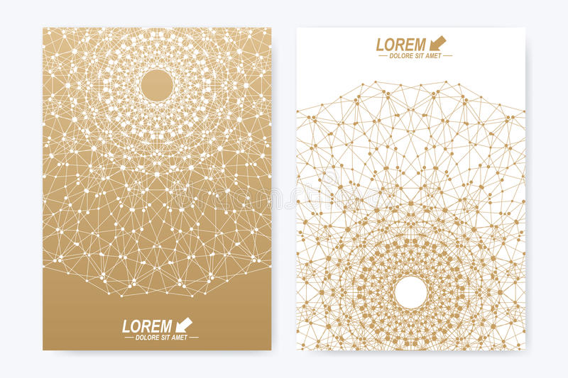 Modern vector template for brochure, leaflet, flyer, cover, magazine or annual report. Golden layout in A4 size. Business, science and technology design book vector illustration