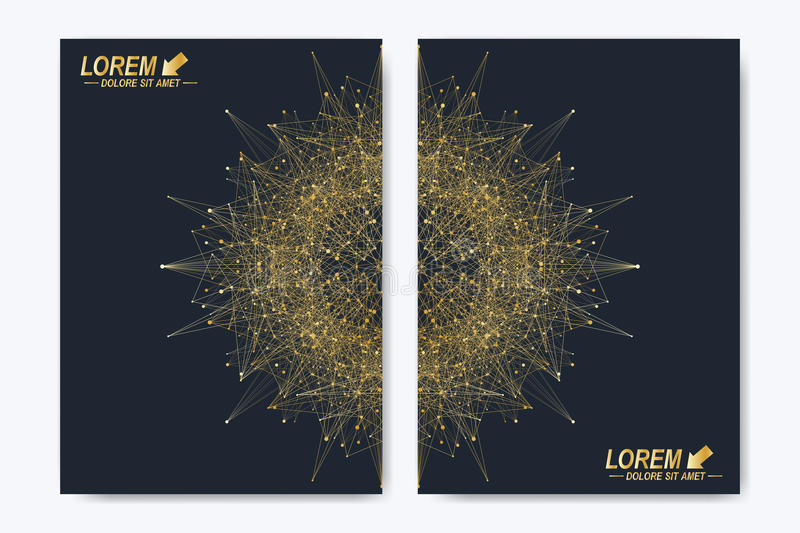 Modern vector template for brochure, leaflet, flyer, cover, magazine or annual report. Golden layout in A4 size vector illustration