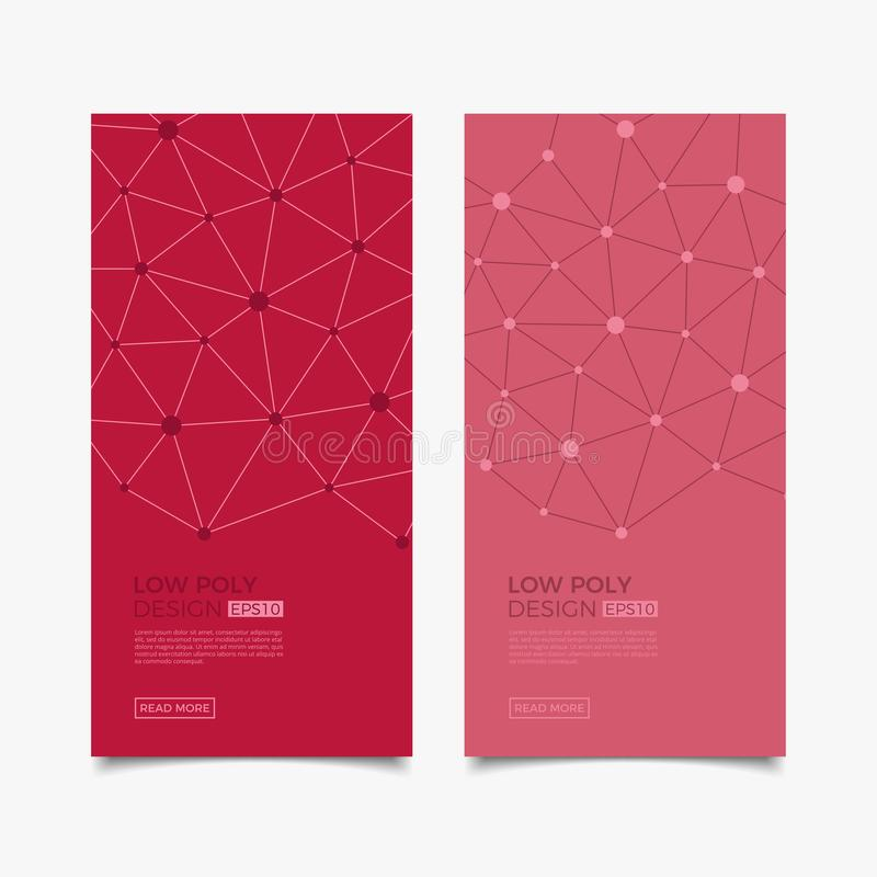 Modern vector templates. Abstract geometric background with connected lines and dots. Business, science, medicine, Molecule and te royalty free illustration