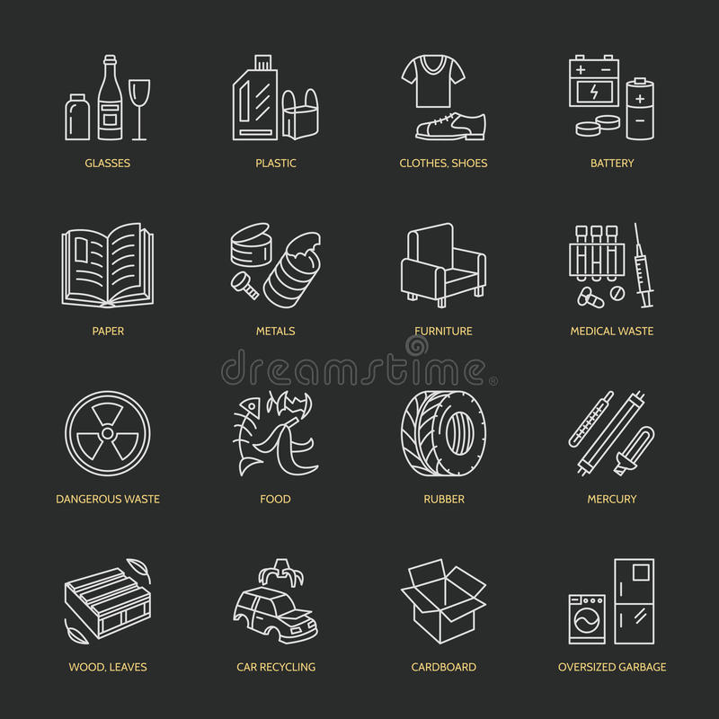 Modern vector thin line icons of waste sorting, recycling. Garbage collection. Recyclable trash - paper, glass, plastic, metal stock illustration