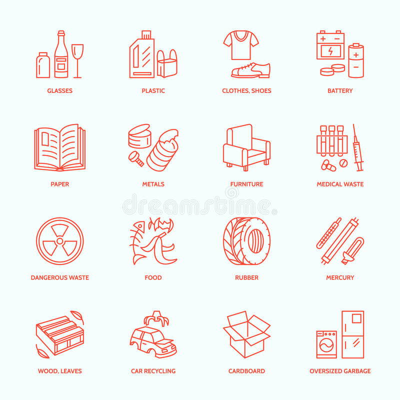 Modern vector thin line icons of waste sorting, recycling. Garbage collection. Recyclable trash - paper, glass, plastic, metal vector illustration