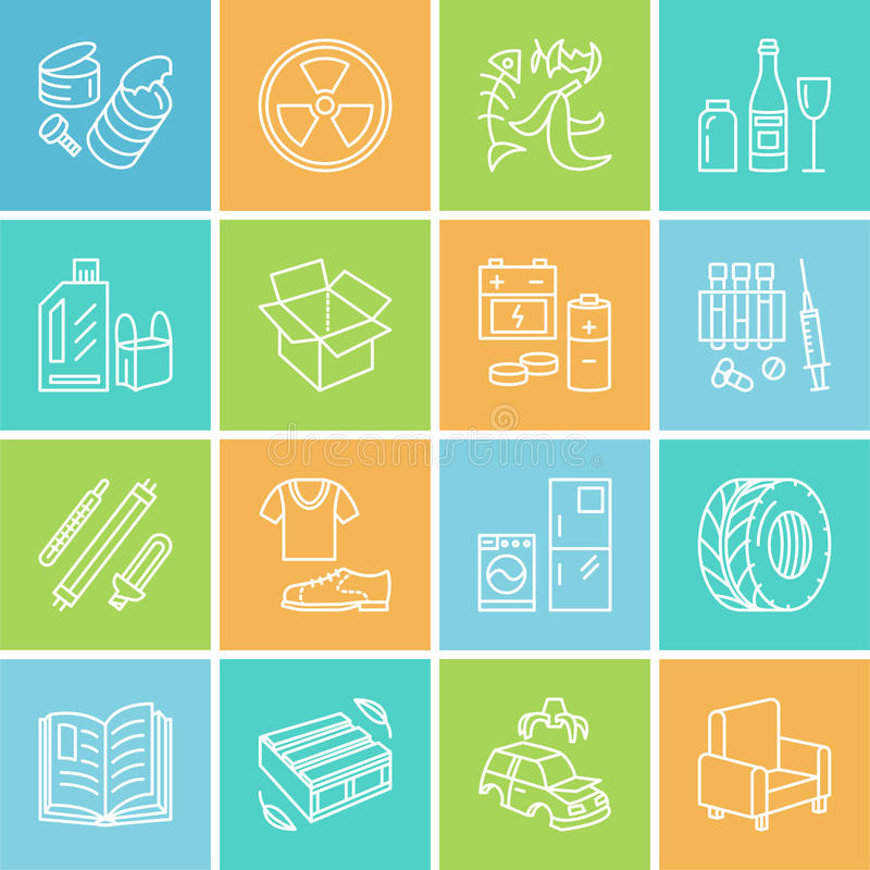 Modern vector thin line icons of waste sorting, recycling. Garbage collection. Recyclable trash - paper, glass, plastic. Metal, wood. Linear pictogram for vector illustration