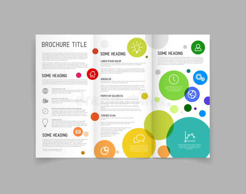circle brochure template - modern vector three fold brochure design template stock