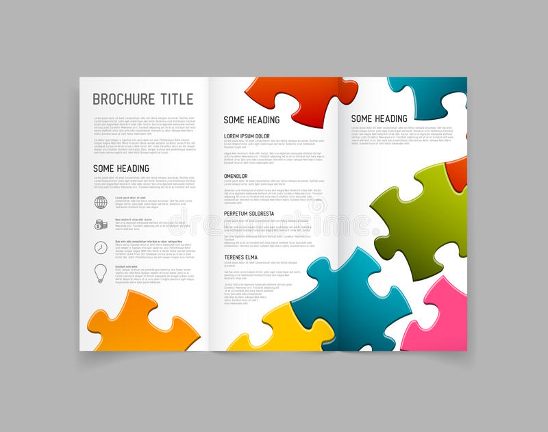 Modern Vector three fold brochure design template. Modern Vector three fold brochure / leaflet / flyer design template with puzzle pieces royalty free illustration
