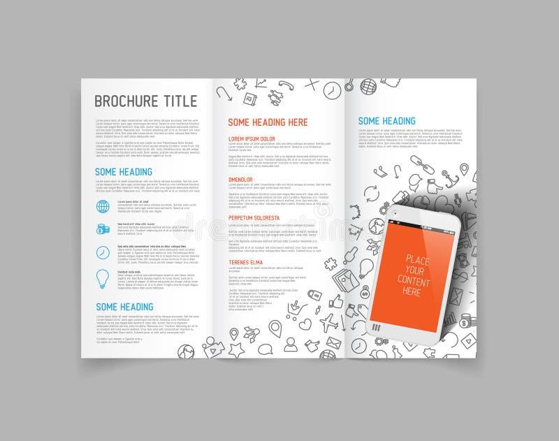 Modern Vector three fold brochure design template. Modern Vector three fold brochure / leaflet / flyer design template with smartphone stock illustration