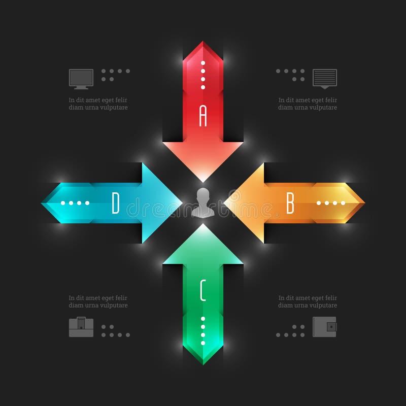 Modern Vectorinfographics-Malplaatje. Werkschema Arro vector illustratie