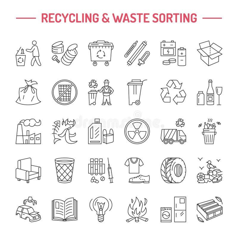Modern vectorlijnpictogram van afval het sorteren, recycling Huisvuilinzameling Rekupereerbaar afval - document, glas, plastiek,  royalty-vrije illustratie